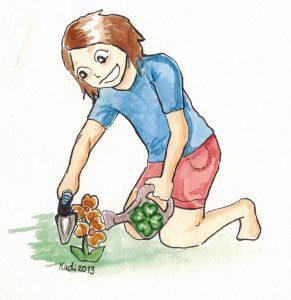 tecknad bild trädgårdstjej 4h åland