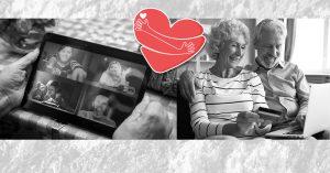 hjärta och äldre som tittar på skärm